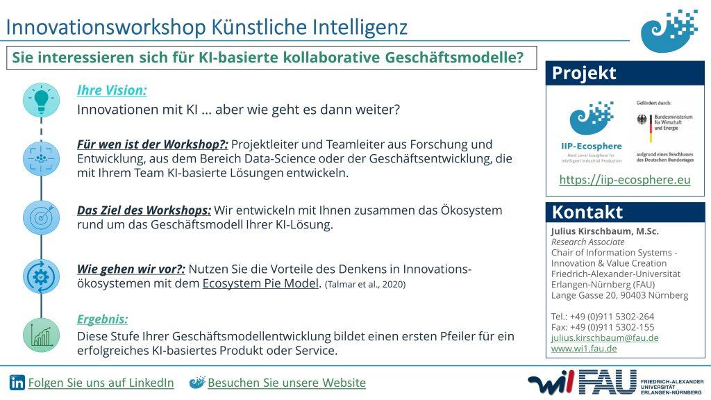 Grafik zu Ablauf und Ziel des KI-Innovationsworkshop